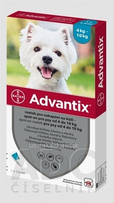 Advantix Spot-on pre psy od 4 do 10 kg (1 pipeta) 1x1 ml