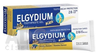 ELGYDIUM KIDS gélová zubná pasta s fluorinolom pre deti (2-6 rokov) s príchuťou banánu 1x50 ml