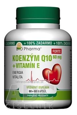 BIO Pharma Koenzým Q10 60mg+Vit.E Forte cps 60+60 (100% ZADARMO) (120 ks)