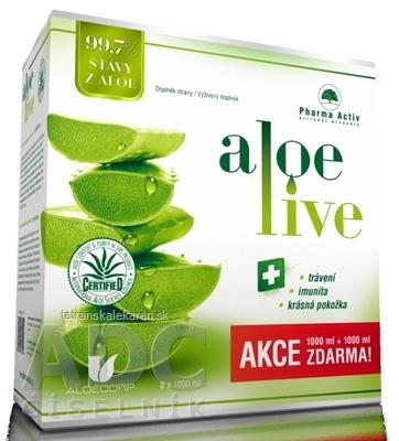 Pharma Activ AloeLive AKCIA šťava z aloe 99,7% (1+1 zadarmo) 2x1000 ml (2000 ml), 1x1 set