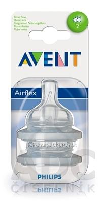 AVENT CUMLÍK na fľašu Klasik 2 otvory 1M+, pomalý prietok, silikónový, extra mäkký, 1x2 ks